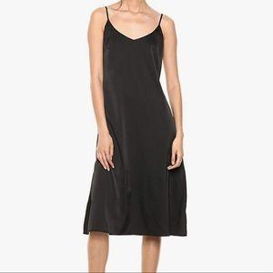 Silky V-Neck Midi Slip Dress